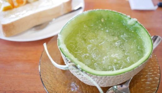 【各務原市】果実香(かみか)『半玉メロンのインパクトがすごいモーニング!高級メロンジュース』フルーツ盛り沢山でリーズナブル